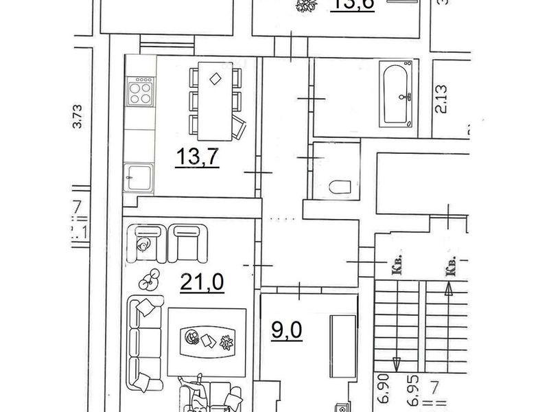 трёхкомнатная квартира на улице Ванеева дом 227